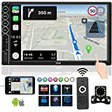7 INCH Car Stereo with Bluetooth,Double Din Car Radio HD Screen MP5 Player, Phone Projection Mirror Link,Reversing Camera