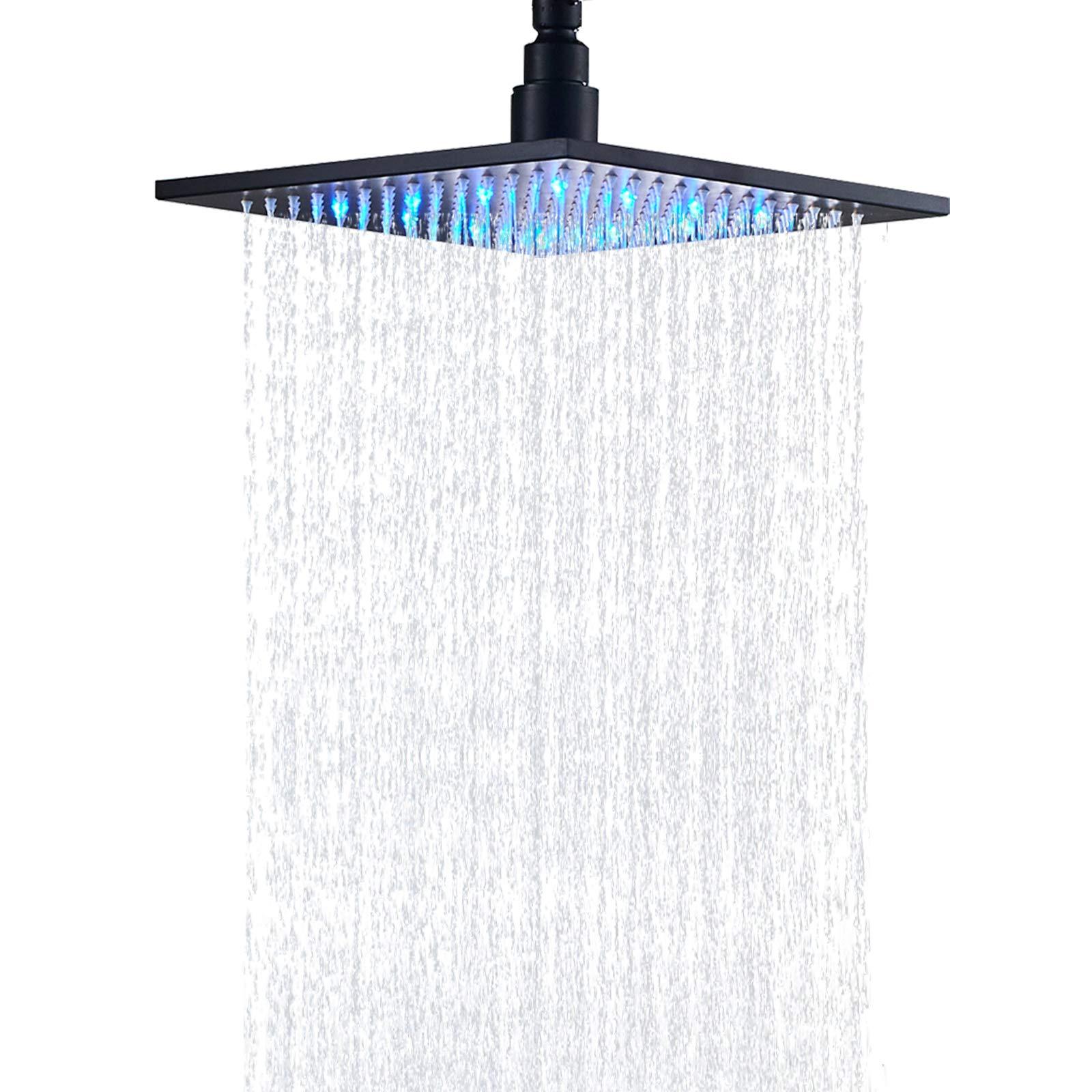 Senlesen Bathroom 10-inch Square Shower Head with LED Light Oil Rubbed Bronze by Senlesen