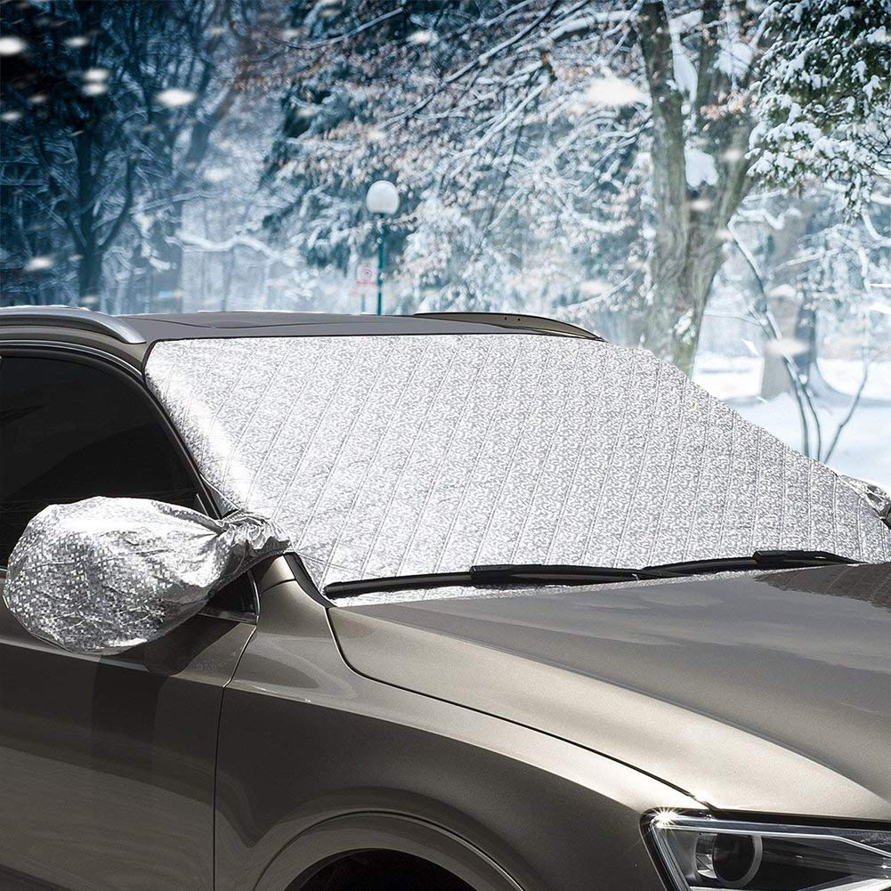 Windscreen Cover, Magnetic Windscreen Cover Elastic with hooks Fixed Four wheels & Reflective Warning Bar on Mirror Covers anti-Sun Ice Frost Dust Shatter and Wind Proof in All Weather. CARCHAIN SNOW003