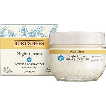 Burts Bees Intense Hydration Night Cream 1.80 oz (Pack of 3) Burts Bees 100% Natural Moisturizing Lip Shimmer, Grapefruit, 1 Tube