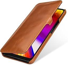 StilGut Book Type, Housse en Cuir pour LG G7 ThinQ. Etui de Protection en Cuir véritable pour LG G7 ThinQ à Ouverture latérale, Cognac avec Clip