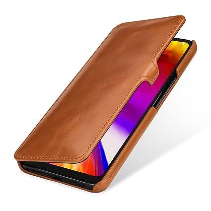 bc29970879 Amazon.com: StilGut LG G7 ThinQ Case. Leather Book Type Flip Cover ...