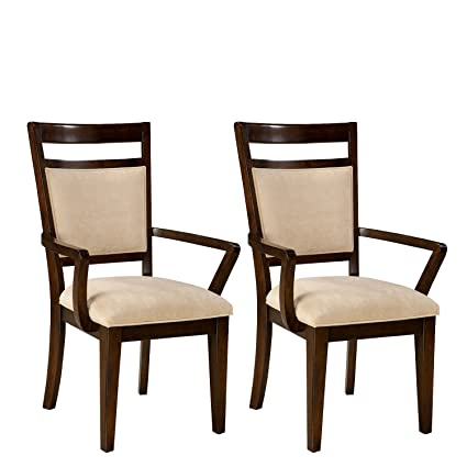 Amazon Standard Furniture Avion 2 Pack Upholstered Arm Chairs Cherry Brown Kitchen Dining