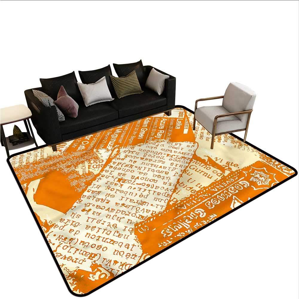 "alt Newspaper,Anti-Slip Coffee Table Floor Mats 60""X 96"" Grungy Retro Journal Silky Smooth Bedroom Mats"
