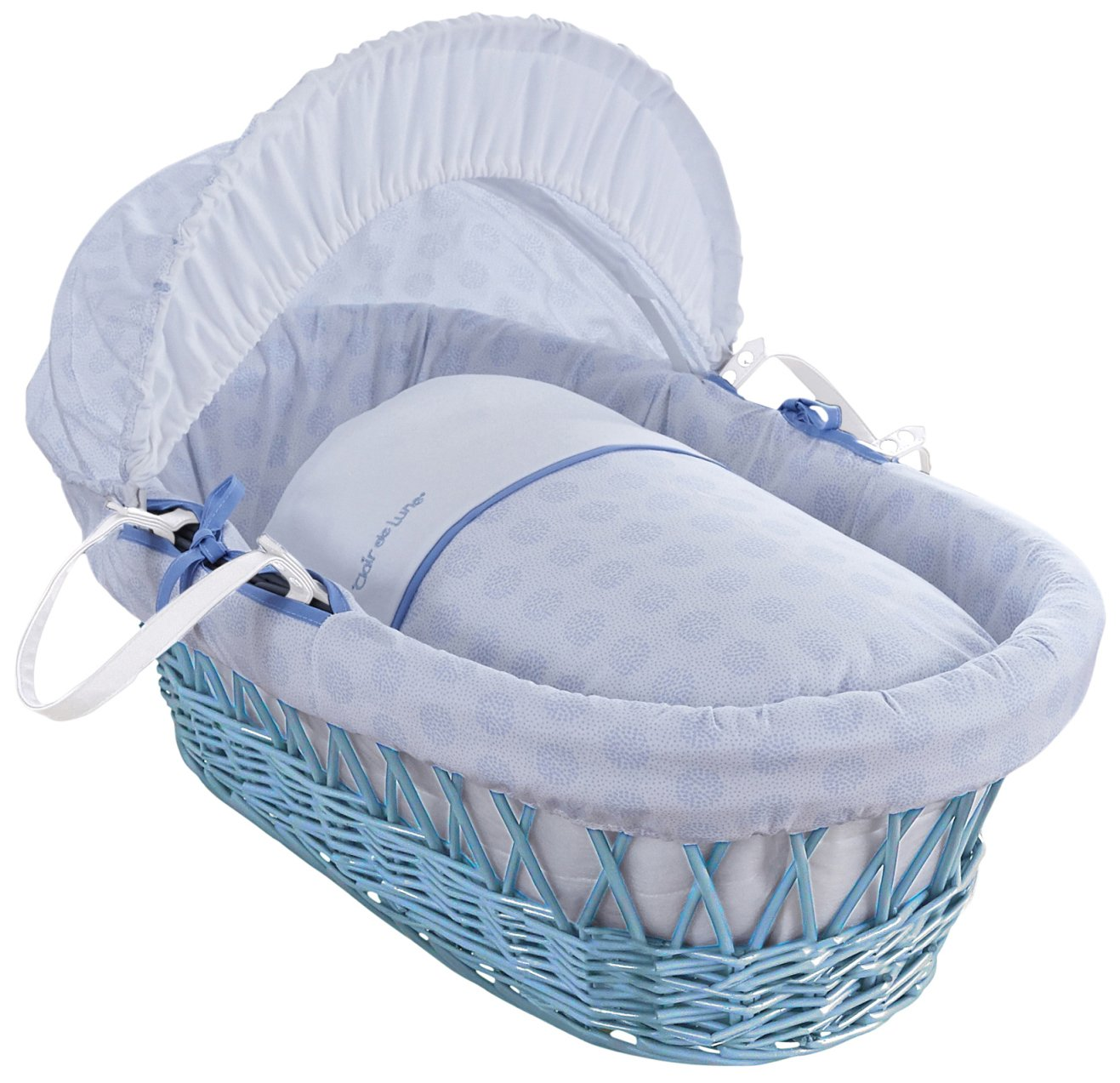 Clair de Lune Speckles Blue Wicker Moses Basket inc. bedding, mattress & adjustable hood CL5856BBE