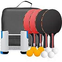 Powcan Conjunto de Tenis de Mesa con Red, 4 Raquetas + 8 Bolas/Pelotas de Tenis de Mesa + 1 Red Retráctil, Juego de…