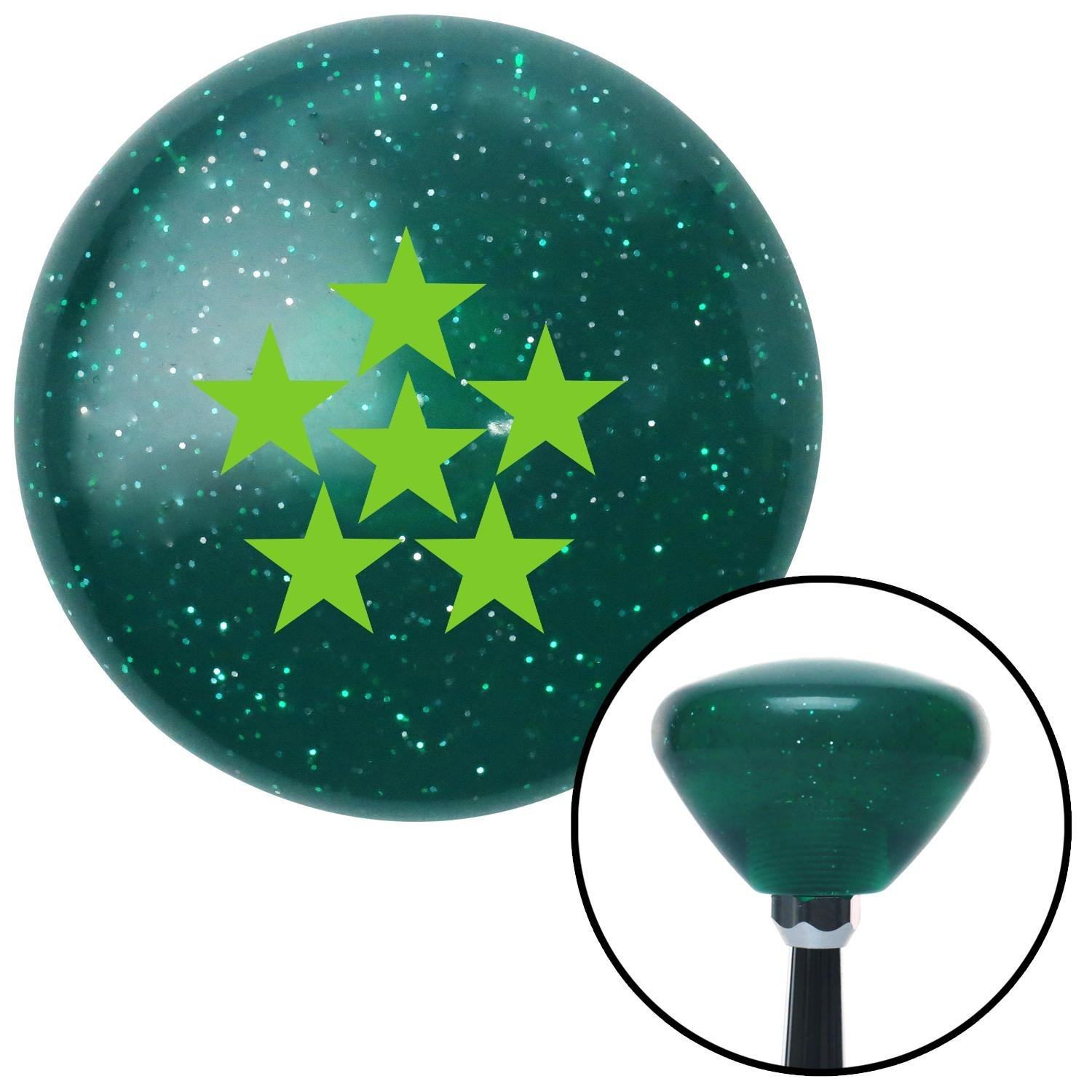 Green 6 Star Formation American Shifter 207656 Green Retro Metal Flake Shift Knob with M16 x 1.5 Insert