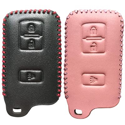 2Pcs Coolbestda 3Buttons Key Fob Cover Keyless Skin Jacket Remote Wallet Bag for 2020 2020 2016 Toyota Tacoma Land Cruise Prius V RAV4 HYQ14FBA: Automotive