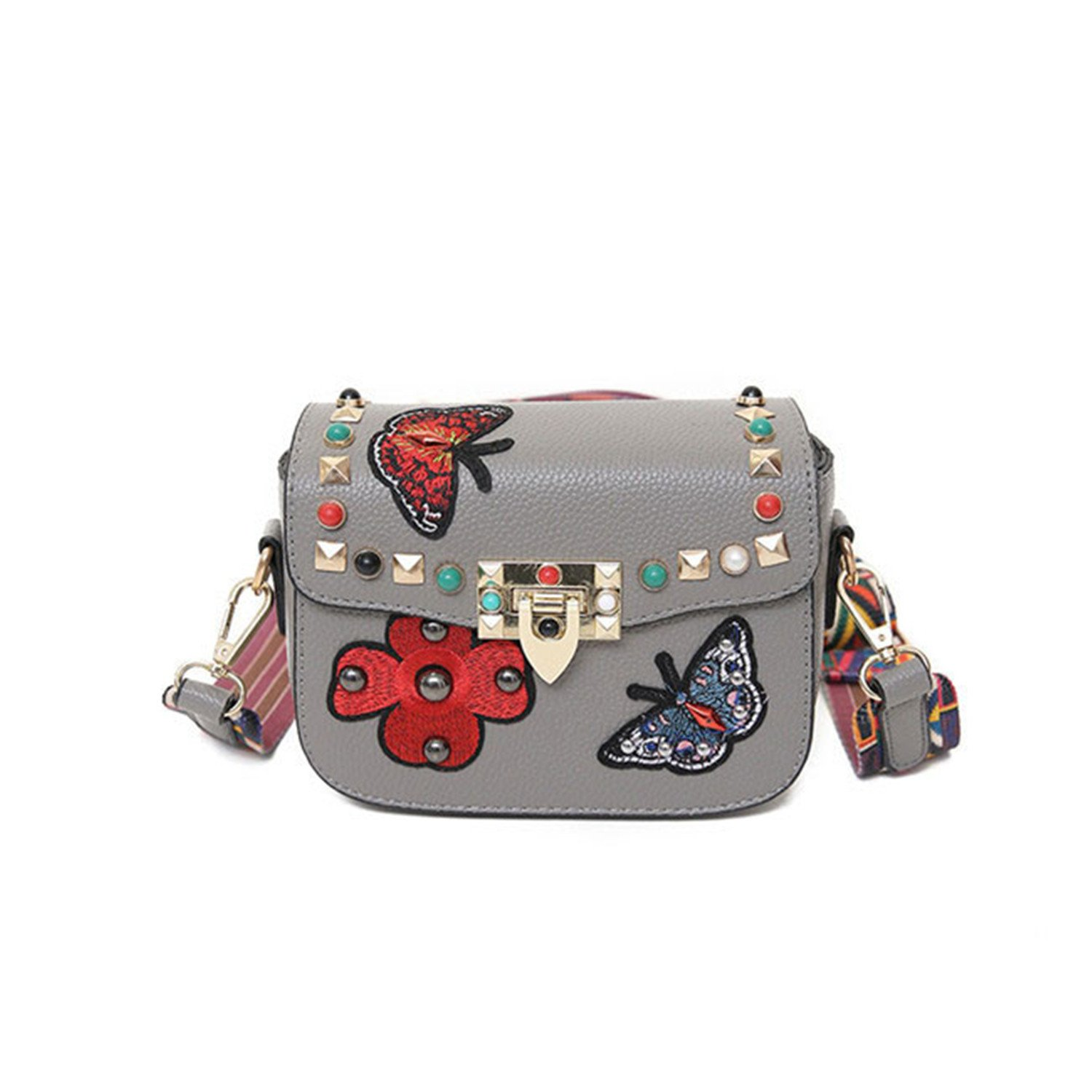 Acereima NEW Butterfly Animal Pattern Fashion Mini Women Bags Rivets Embroidery Floral Bag Designer PU Leather Crossbody Bags Sac A Main Dark gray 2017 ...