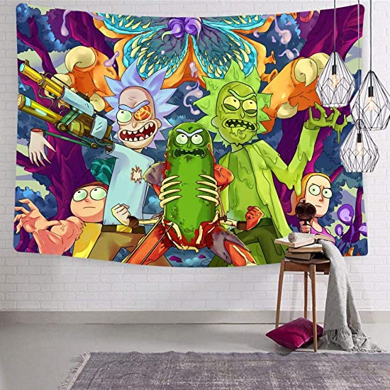 461 Senzann Rick-Morty Tapestry Wall Hanging Home Decor 3D Print Tapestry 70.9 x 92.5 Inch