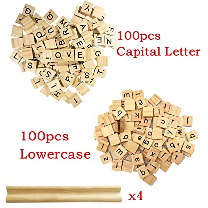 200 WOODEN SCRABBLE TILES BLACK LETTERS NUMBERS FOR CRAFTS WOOD ALPHABETS