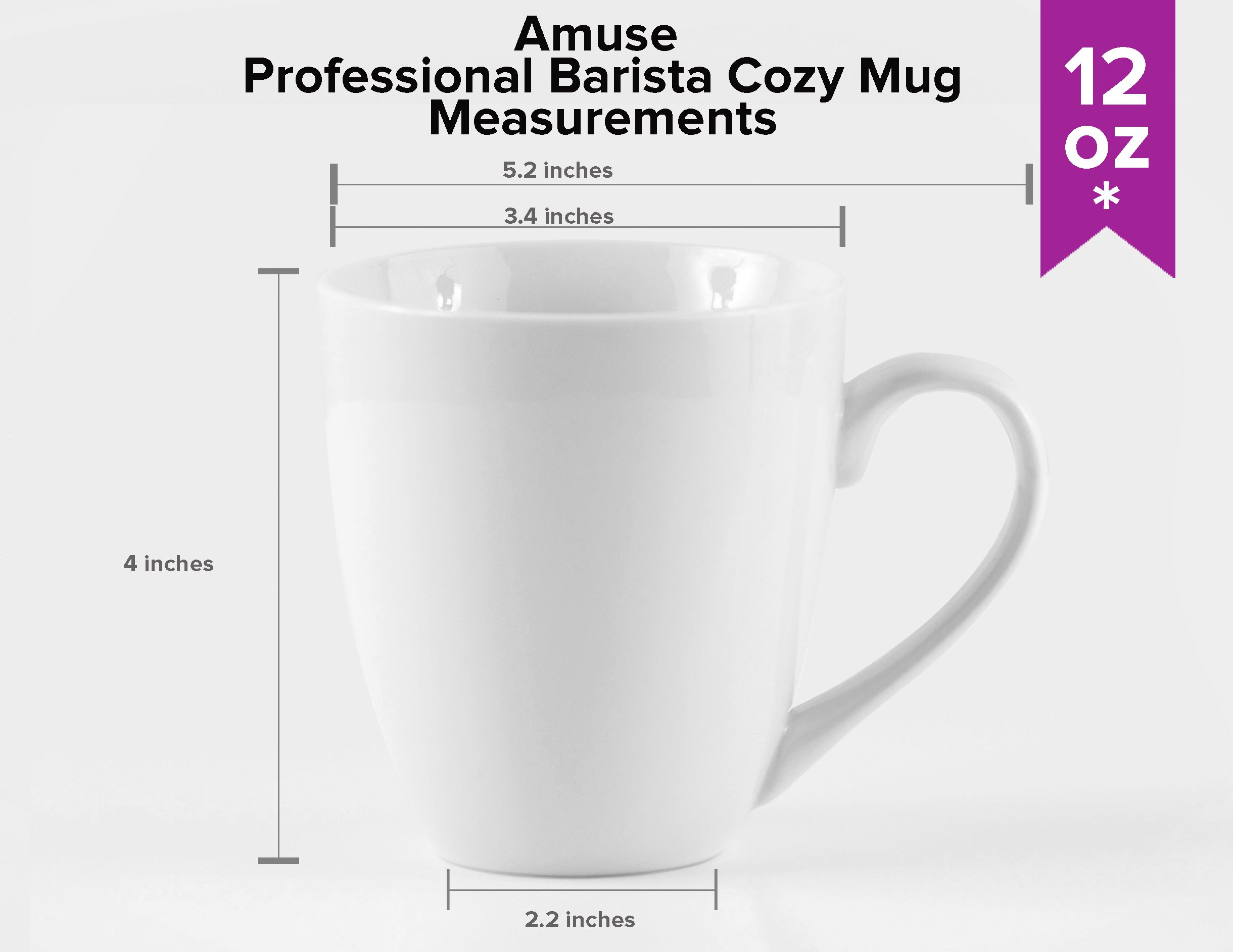 Amuse- Professional Barista''Cozy Collection'' Mug- Set of 6 (Medium - 12 oz.)