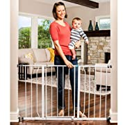 Regalo Extra Wide Easy Step Walk Thru Gate, White, Fits Spaces Between (29-50 Inches)