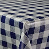 Gingham Navy Blue Wipe Clean PVC Vinyl Tablecloth Cover Protector in Width 140cm – Sold by the metre