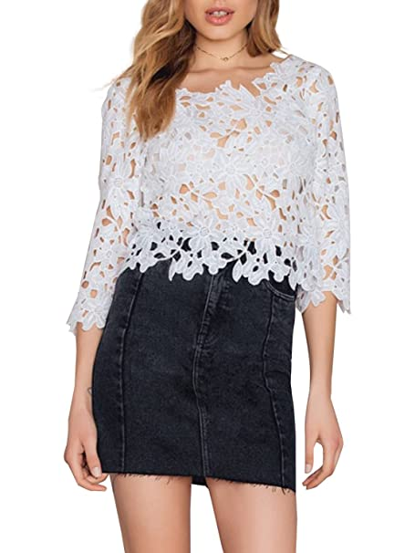 Simplee Apparel Women s Lace Cross back crop top sin Espalda Blanco ganchillo blusa camisa