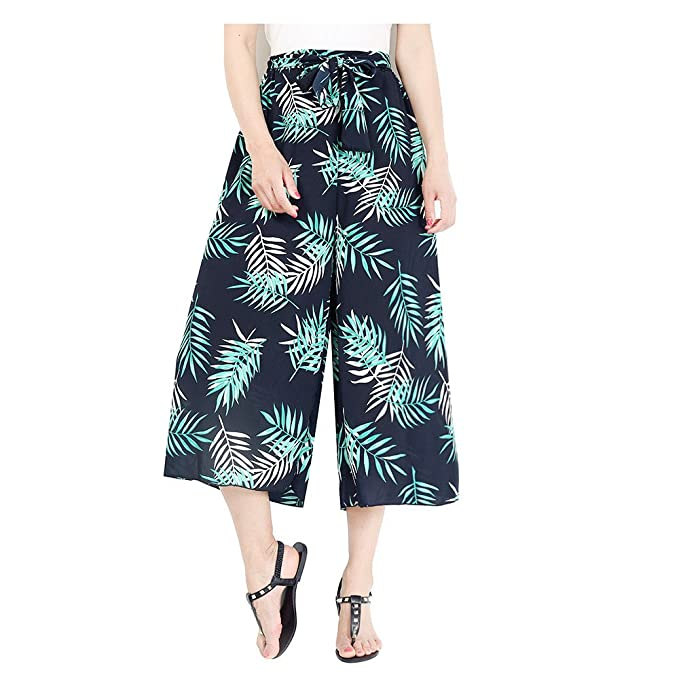 60ee6aac76 Hanglin Trade Women's Boho High Waist Wide Leg Pants Floral Print Summer  Beach Pants Plus Size