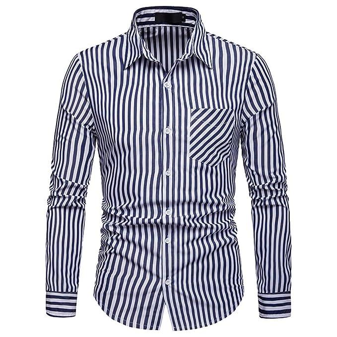 Hombres Blusas Rovinci Primavera Otoño Invierno Negocios Manga Larga A Rayas Impreso Solapa Casual Tops Camisas: Amazon.es: Ropa y accesorios