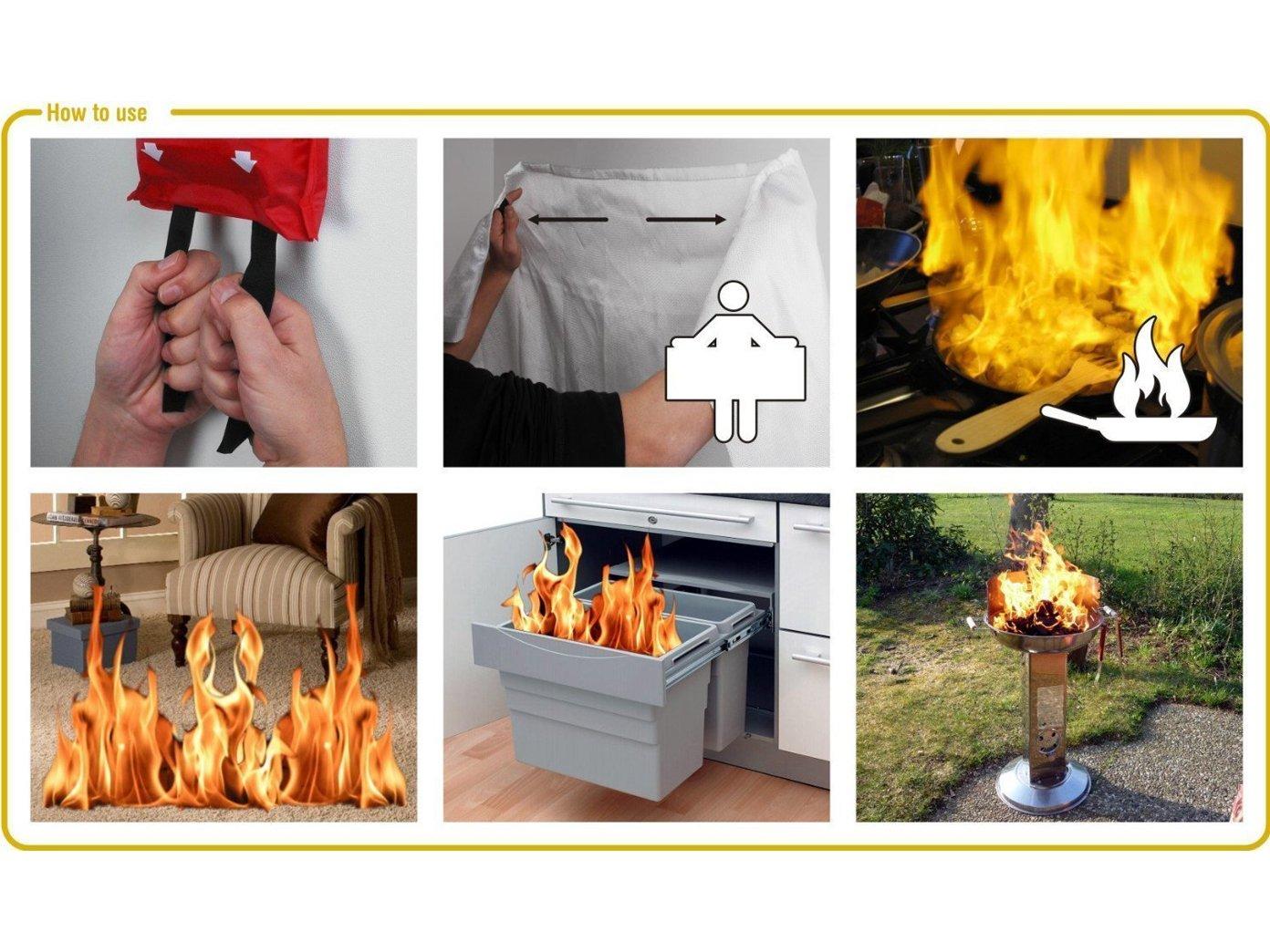 Juego de protección contra incendios (TÜV Detector de humo, manta contraincendios, borrador Spray) Protección contra incendio Juego de protección contra ...