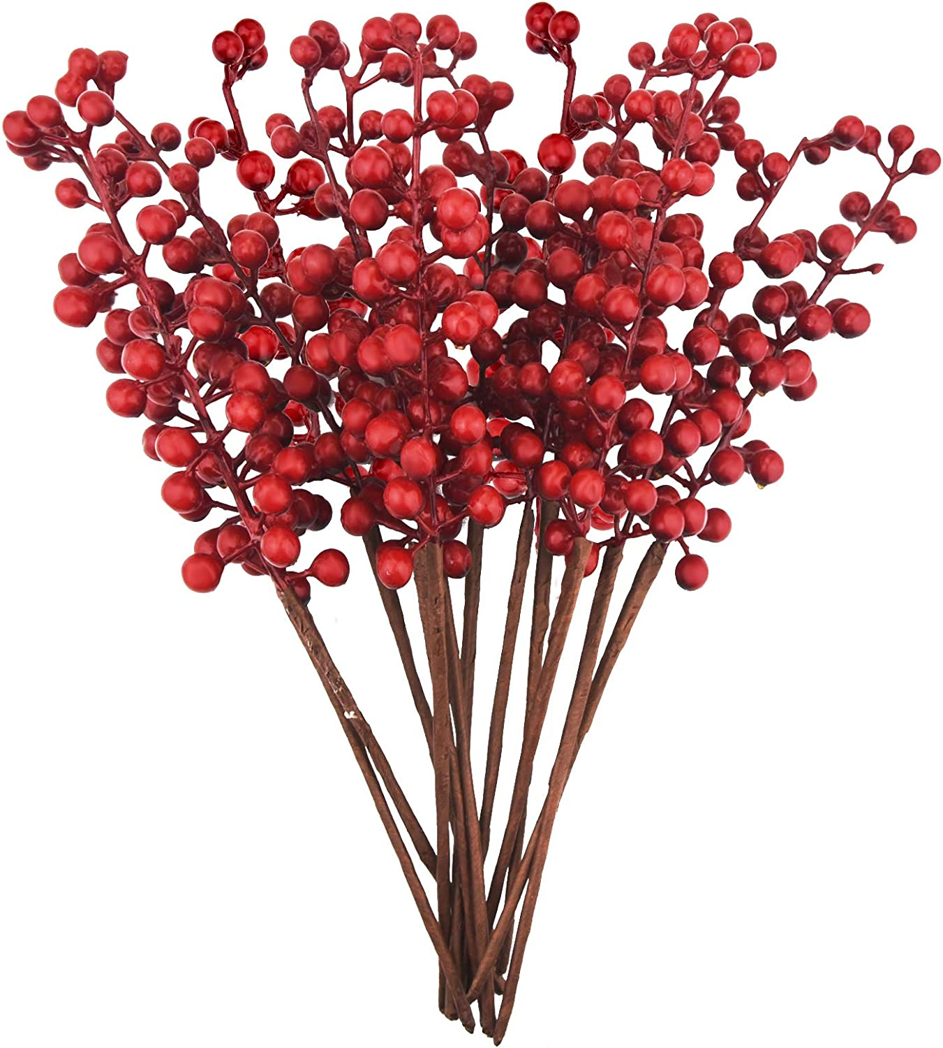 12 Pack Artificial Red Berry Stems Branches, Jmkcoz Fake Burgundy Berry Picks Faux Holly Berries for Christmas Tree Xmas Wreath Decorations Floral Arrangements, Halloween Holiday Home DIY Crafts Decor
