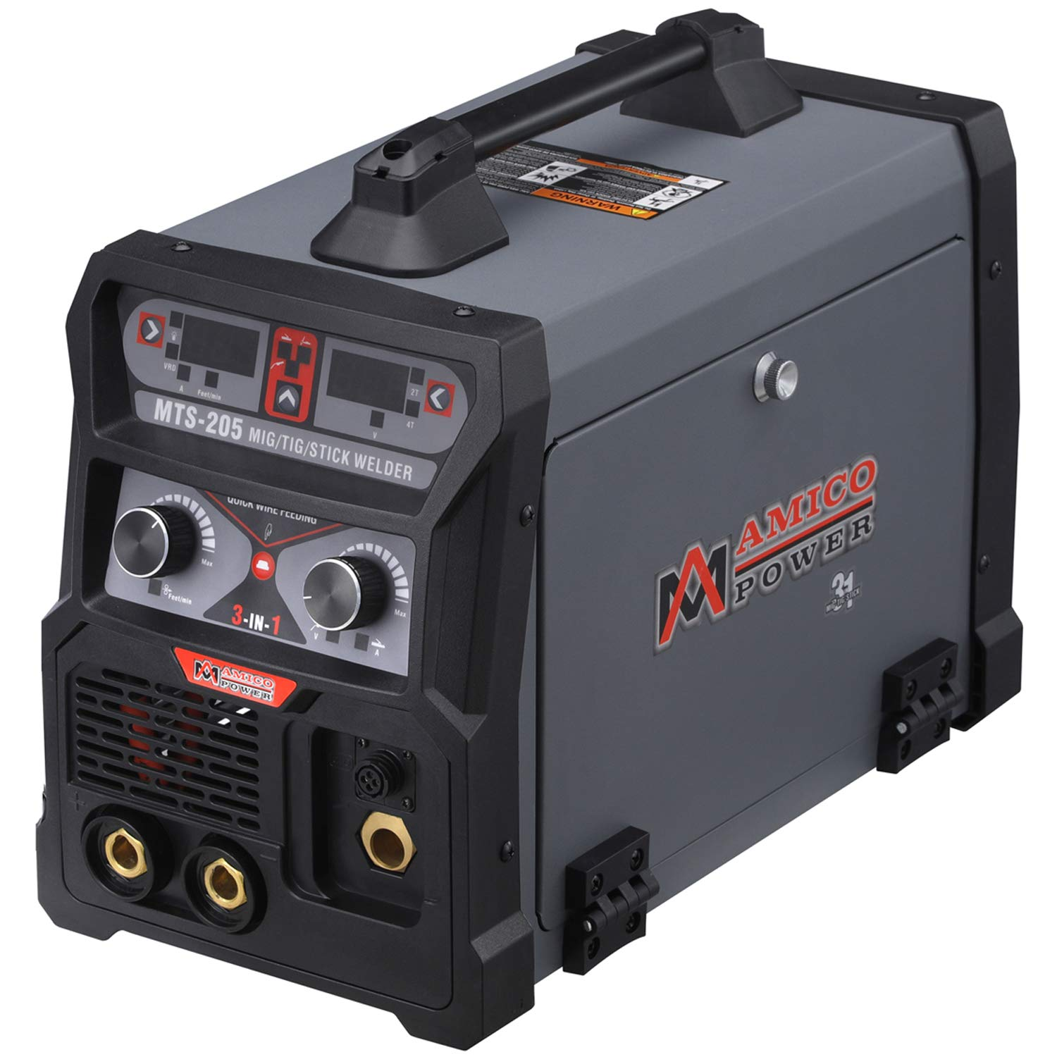 MTS-205 205 Amp MIG/TIG-Torch/Stick Arc Combo Welder, Weld Aluminum(MIG) 110/230V Dual Voltage Welding New by AmicoPower