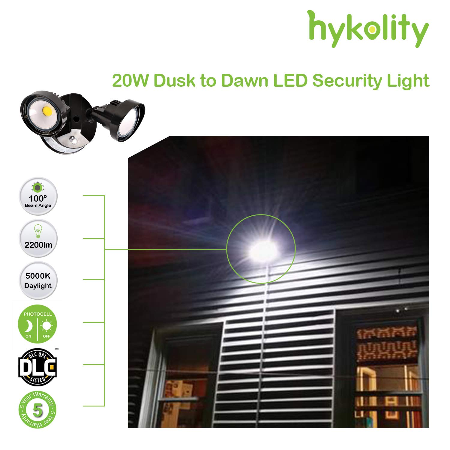 Hykolity 20w Dusk To Dawn Led Security Light Outdoor Wall Mount Photocells For Lights Floodlight 150w Equivalent 2200lm 5000k Ip65 Waterproof Adjustable Dual Head