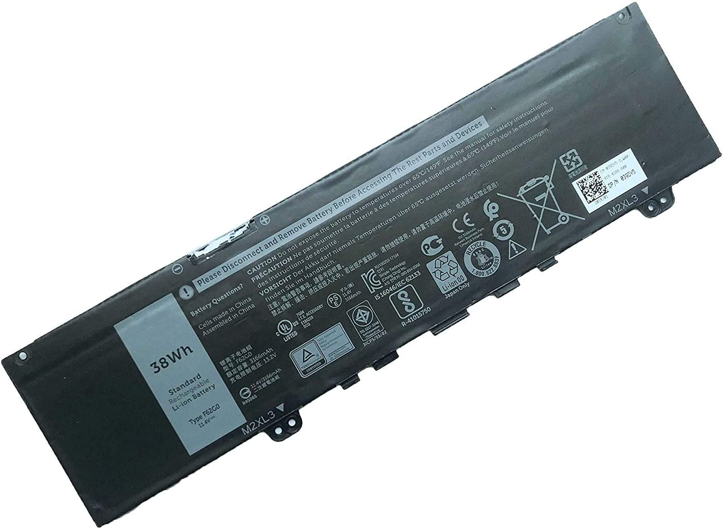 SUNNEAR F62G0 11.4V 38Wh 3166mAh Laptop Battery Replacement for Dell Inspiron 13 5370 7370 7373 7380 7386 Vostro 13 5370 D1505G Series Notebook F62GO RPJC3 39DY5
