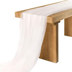 Ling's moment 30x195 inch Extra Long Tulle Table Runner for Wedding Reception Table Sweetheart Table Party Bridal Shower Decorations (Shimmer White, 16FT)