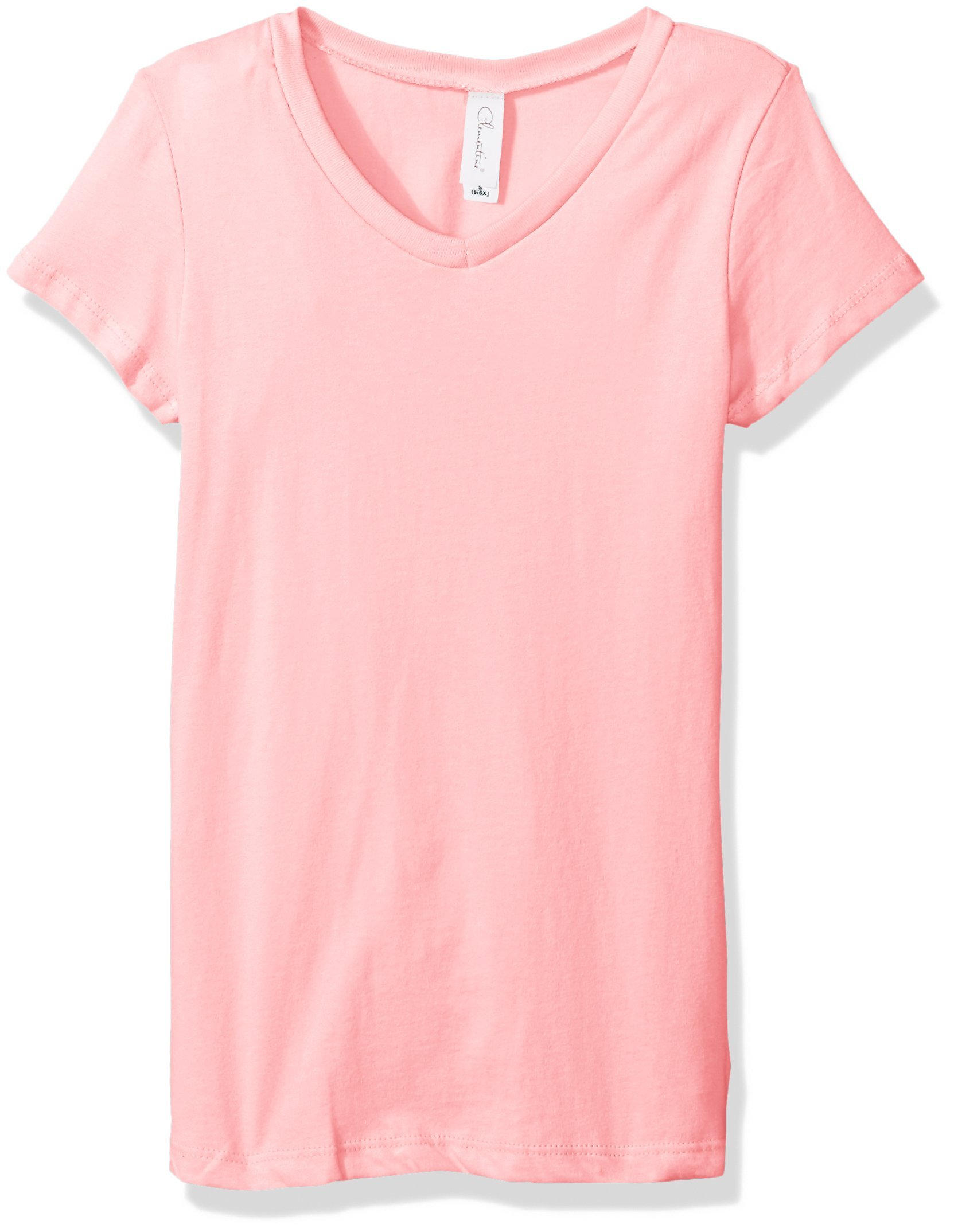 Clementine Apparel Big Girls' Everyday Short-Sleeve Princess V-Neck Tee, Light Pink, Small by Clementine Apparel