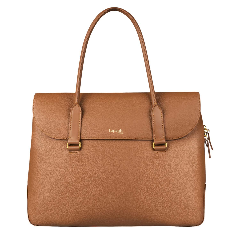 Lipault - Plume Elegance Tote Bag - 15.6'' Laptop Top Handle Shoulder Handbag for Women - Cognac