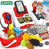 YVSoo 24Pcs Caja Registradora Juguetes, Supermercado Juguetes para Niños Eléctrico Escáner Juguete con Numerosas Funciones