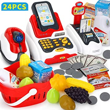 YVSoo 24Pcs Caja Registradora Juguetes, Supermercado Juguetes para Niños Eléctrico Escáner Juguete con Numerosas Funciones: Amazon.es: Juguetes y juegos