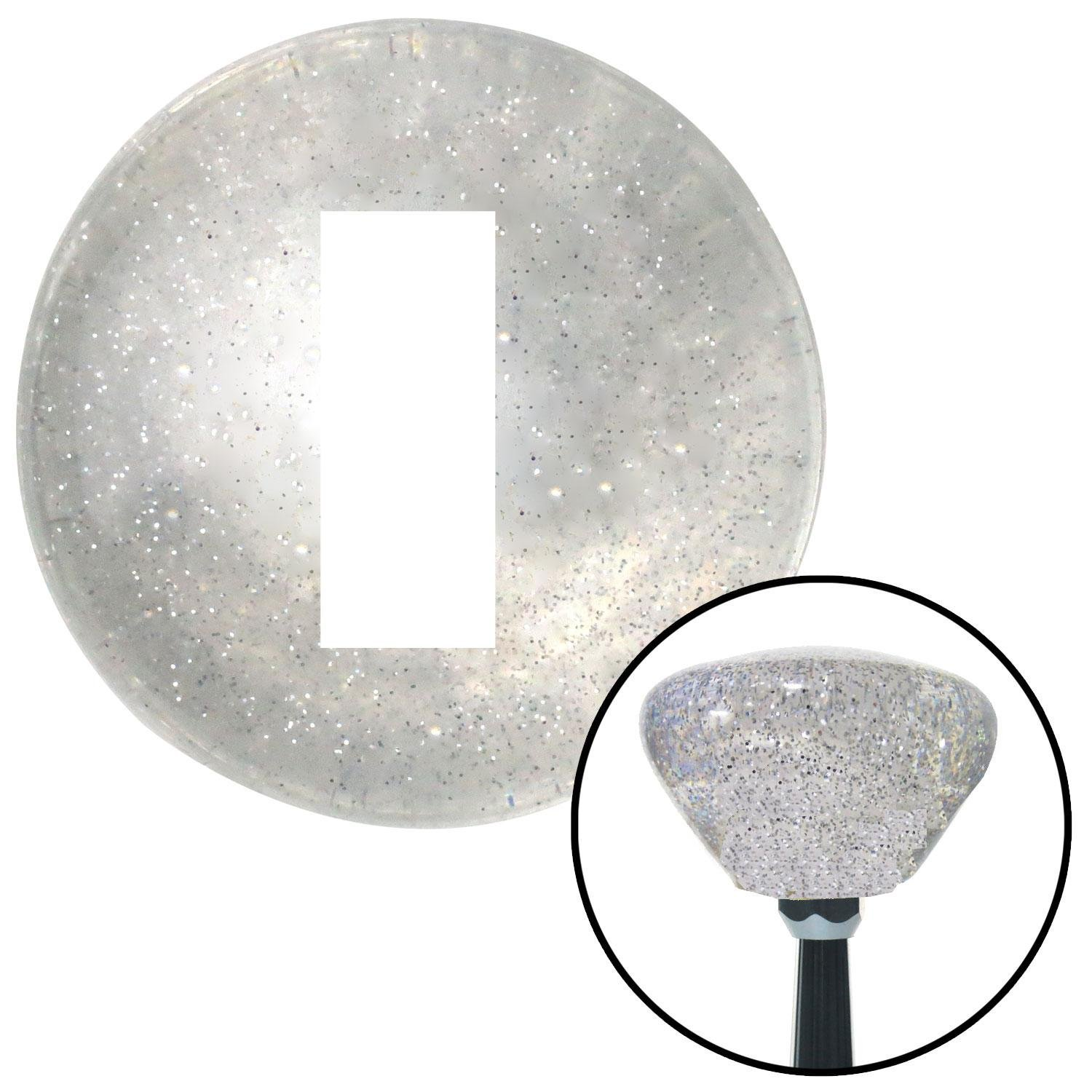 American Shifter 161843 Clear Retro Metal Flake Shift Knob with M16 x 1.5 Insert White Officer 01-2n Lt. and 1d Lt.