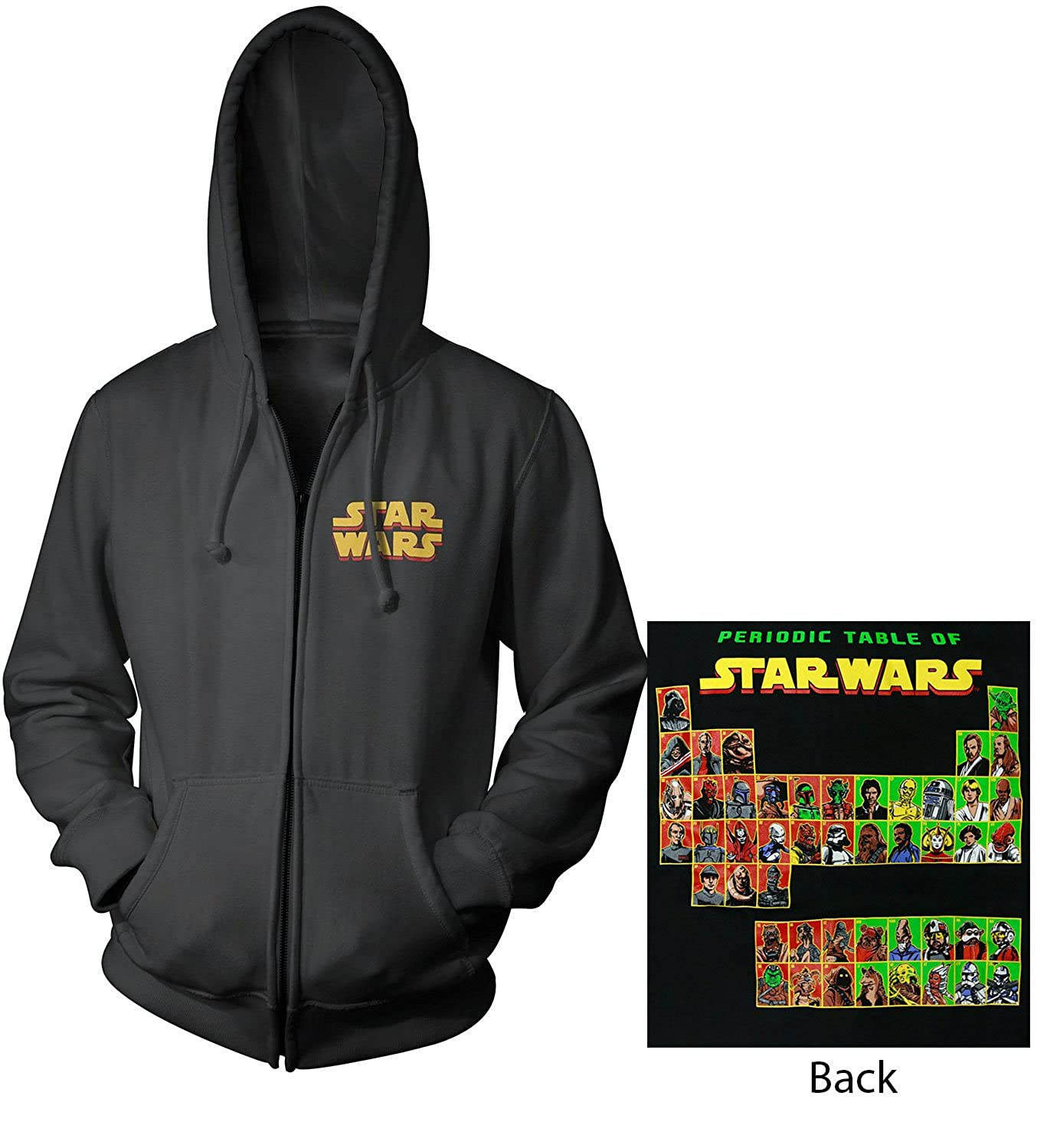 Star Wars Periodic Table Mens Zip-Up Hoodie Sweatshirt | 2XL Mighty Fine