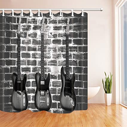 KOTOM Music Decor Vintage Guitar On Brick Wall Shower Curtains Polyester Fabric Waterproof Bathroom