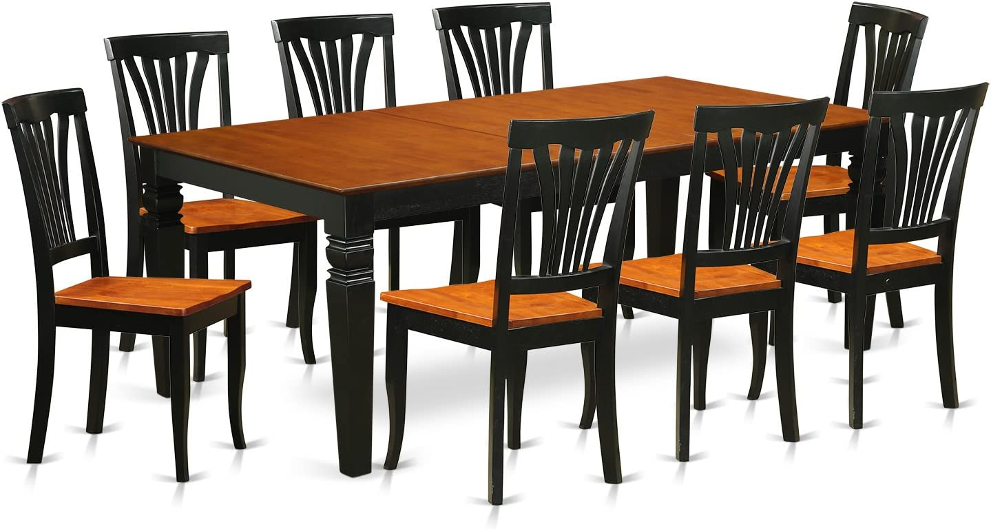 LGAV9-BCH-W 9 PC Kitchen dinette set with a Dining Table and 8 Dining Chairs in Black and Cherry