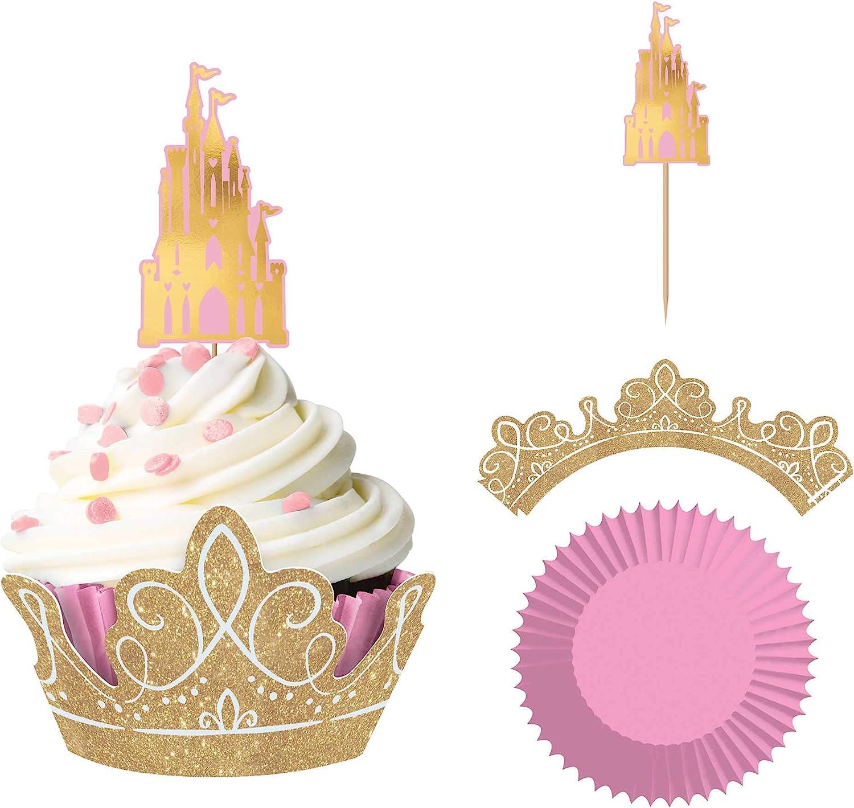 amscan 142357 Disney Princess Cupcake Kit, 72ct, Pink and Gold, One Size