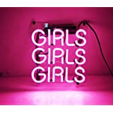 """KUKUU Beer Neon Sign Pink Girls 12"""" x 9.8"""" for Home Bedroom Pub Hotel Beach Recreational Game Room Decor"""