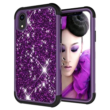 Amazon.com: Voberry TPU Bumper Shock Glitter Sparkle Stars Bling Diamond Girls Women Protective Cute Case Cover Skin Compatible iPhone XR 6.1 inch (Dark ...
