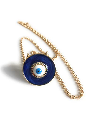 One blue enamel and crystal rhinestone light gold plated evil eye charm pendant for jewellery making