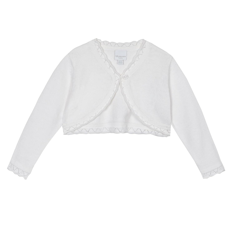 bluezoo Baby Girls White Scalloped Cardigan