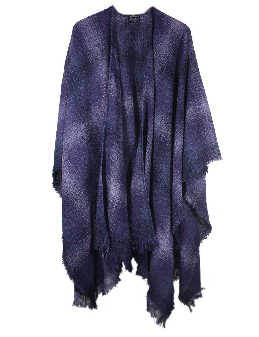 Wool Ruana Purple Check Kerry Woollen Mills Irish Made
