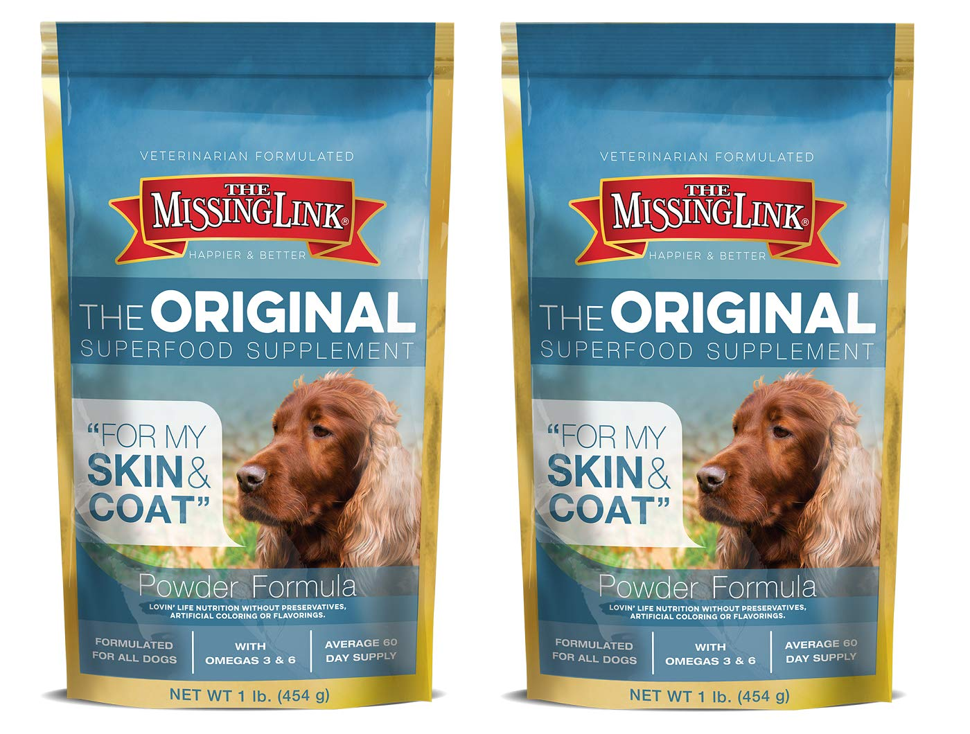 The Missing Link Ultimate Skin & Coat Dog Supplement, 1-Pound, (Pack of 2) by The Missing Link