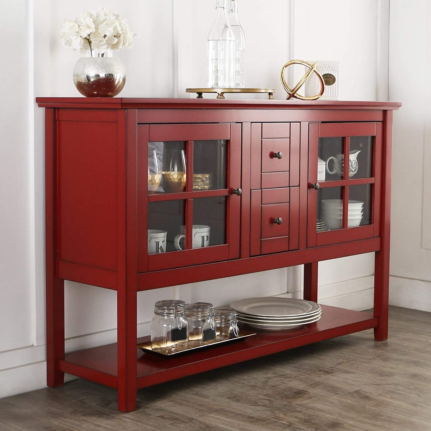 Awe Inspiring Amazon Com Modern Rustic Red Console Buffet Cabinet With 2 Download Free Architecture Designs Jebrpmadebymaigaardcom