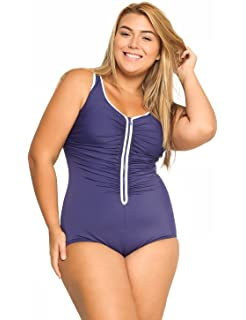 370e2ac940714 DELIMIRA Women s Built-in Cup Plus Size Swimsuits One Piece Zip Front Bathing  Suits