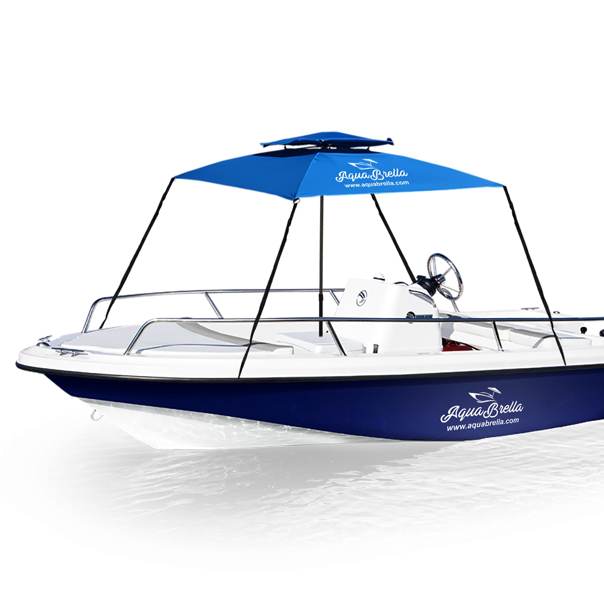 EasyGoProducts AquaBrella – The Portable Bimini Boat Top Cover Canopy. Large size 6 foot X 6 Foot
