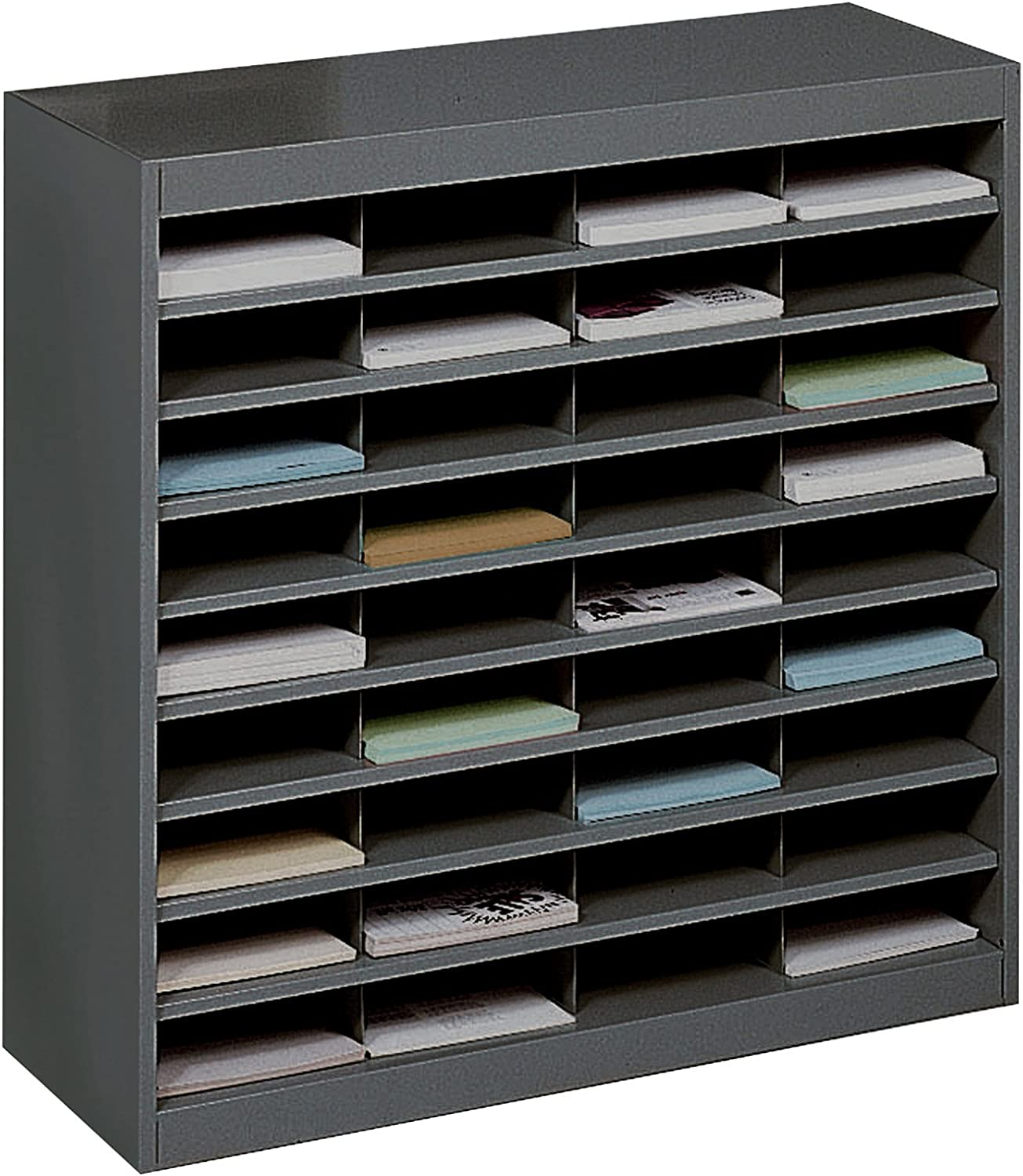 Safco Products E-Z Stor Literature Organizer, 36 Compartment, 9221BLR, Black Powder Coat Finish, Commercial-Grade Steel Construction, Eco-Friendly