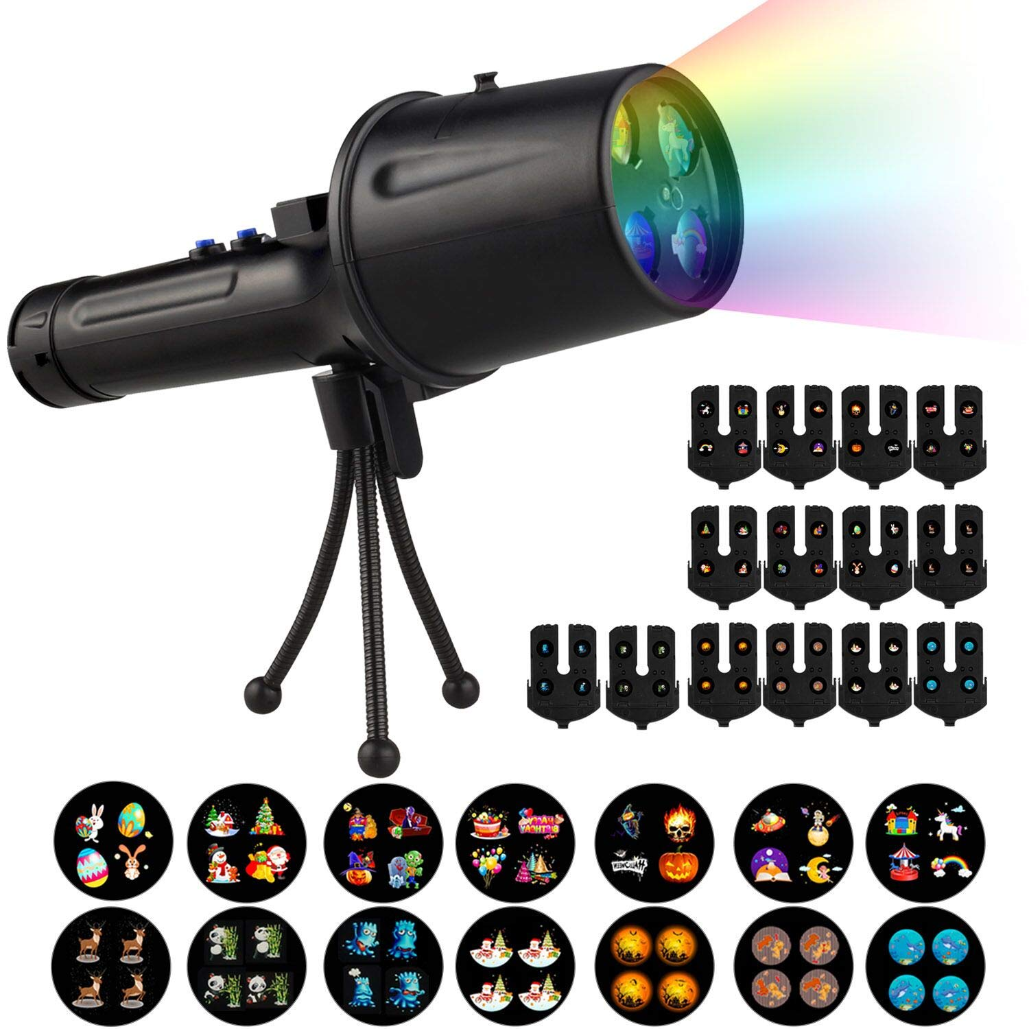 Christmas Animated Decorative Projector Lights - Portable Projector Flashlight with Tripod, Led Spotlight Projector Flashlight with 14 Slides, Night Lights for Kids, Party, Garden, Outdoor
