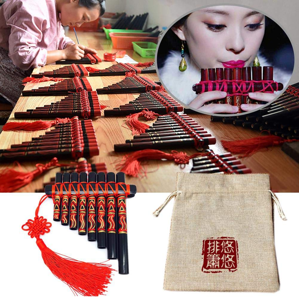 Pan Flute .15 Pipes G Model Pan Pipe, Natural Music Wind Hand-painted Tube Palace Classic Chinese Style
