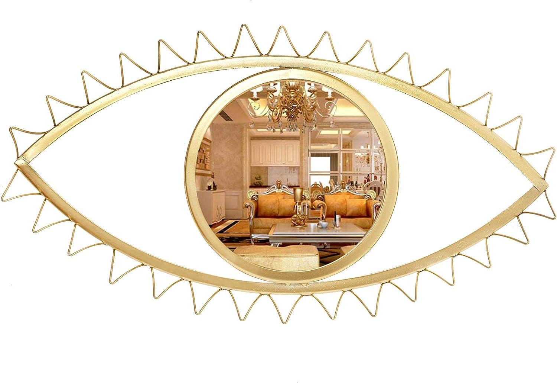 Cityelf 14 inch Wall Mirror Eye Shape Gold Metal Home Decor Home Decor Hanging Mirror Wall Art for Living Room/Bedroom/Bathroom/Entryway (Gold Eyelash 18'' 10.5'')