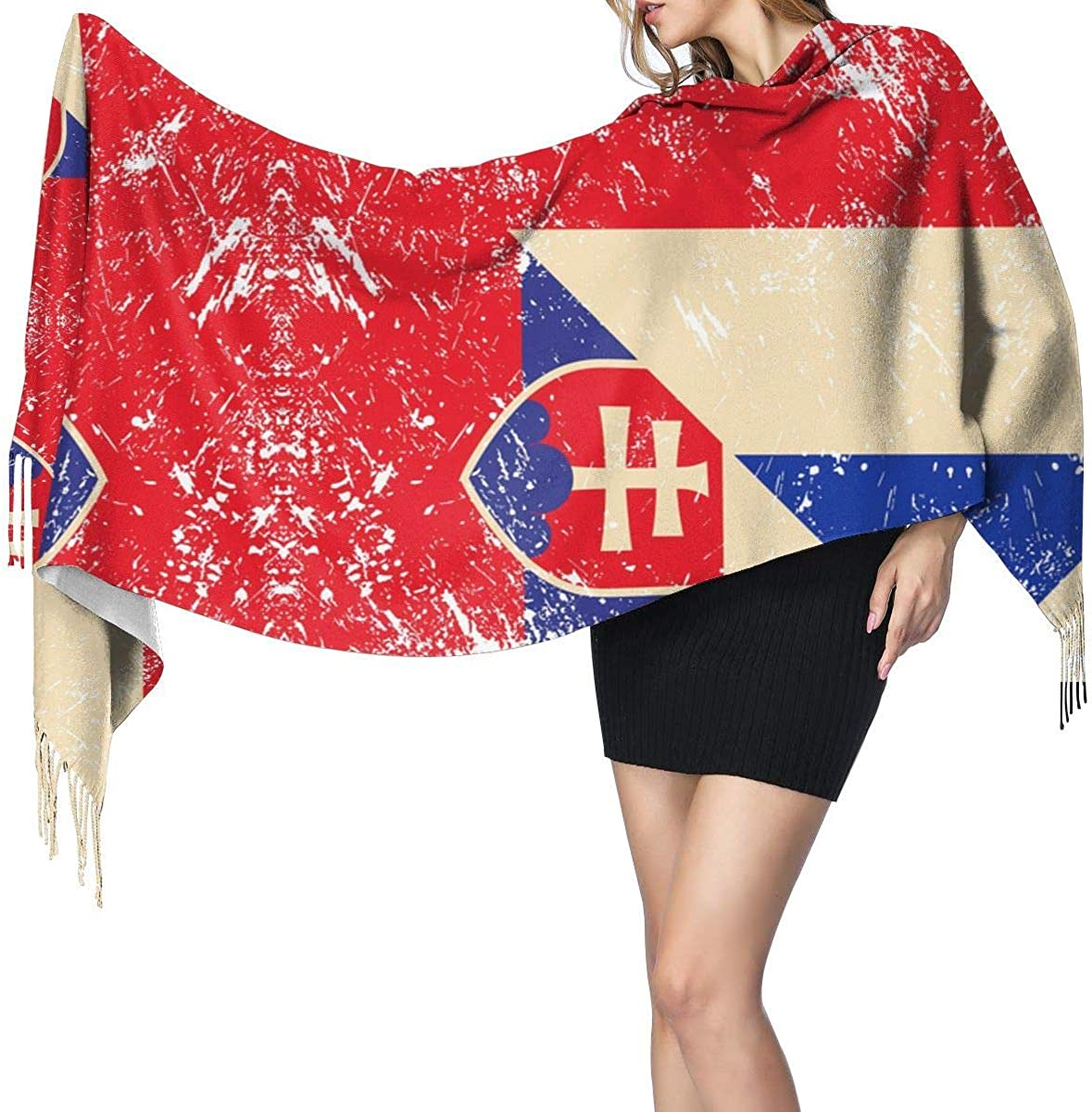 France and Slovenia Retro Flag Cashmere Scarf Shawl Wraps Super Soft Warm Tassel Scarves For Women Office Worker Travel